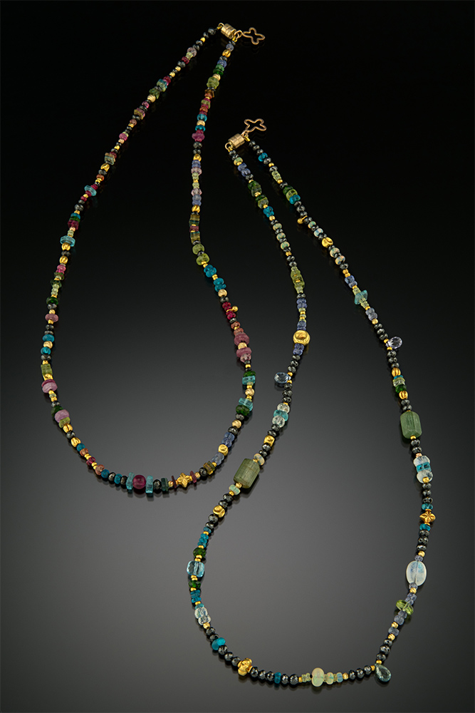 Bead necklace with 18K and 14K gold, black Diamonds, Sapphire briolette and other gemstone beads. (on right)