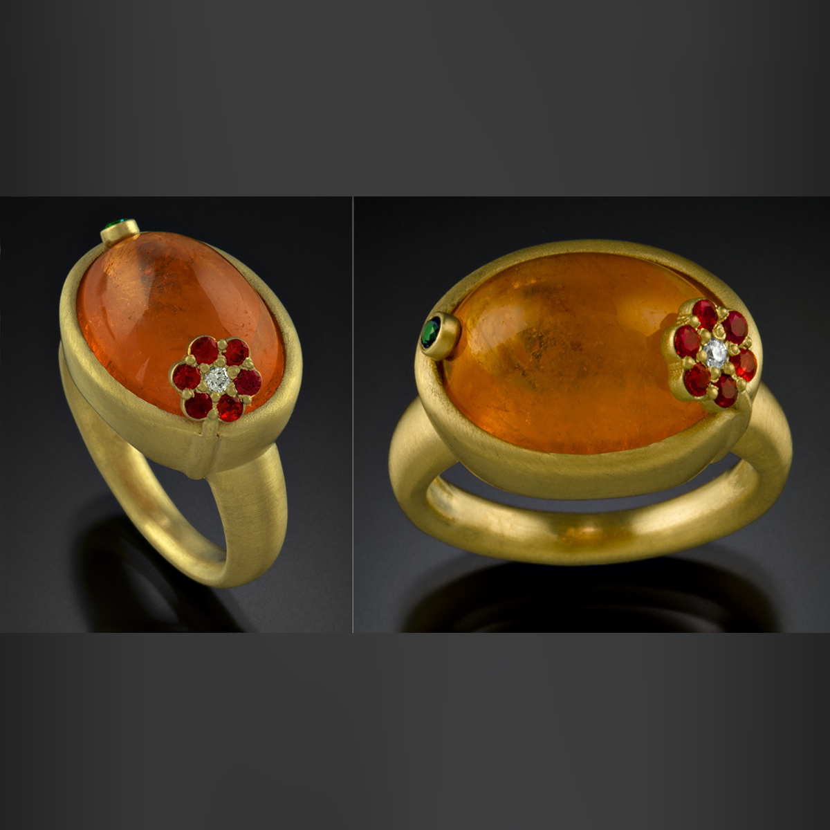 18K brushed yellow gold with bezel set Spessartite Garnet, and red Spinels, Diamond and Sapphire