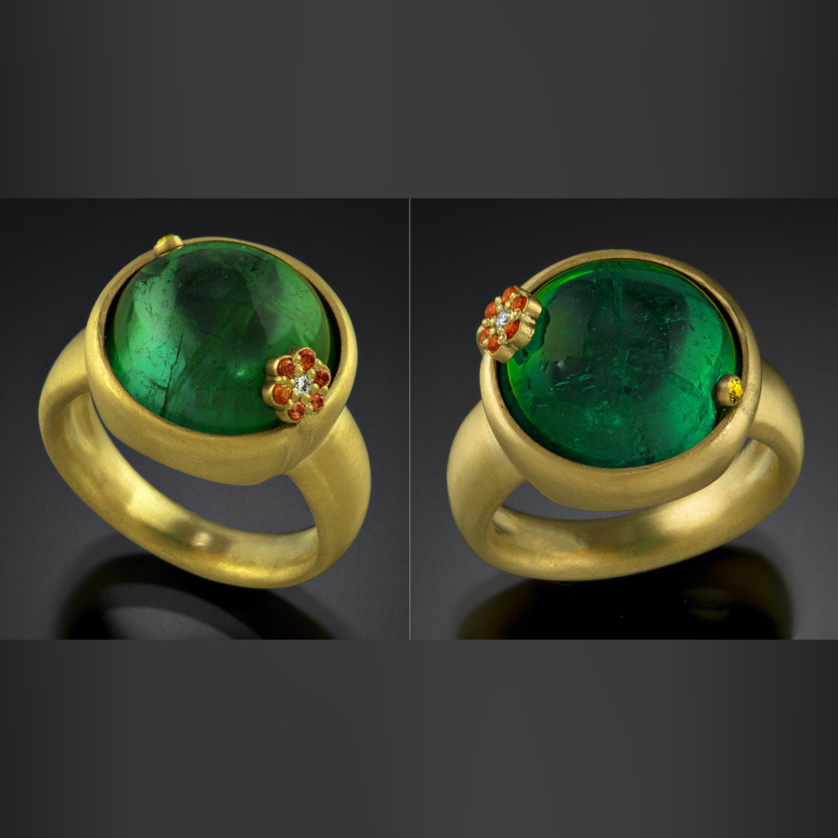 18K brushed yellow gold ring with green Tourmaline, orange and yellow Sapphires and a Diamond