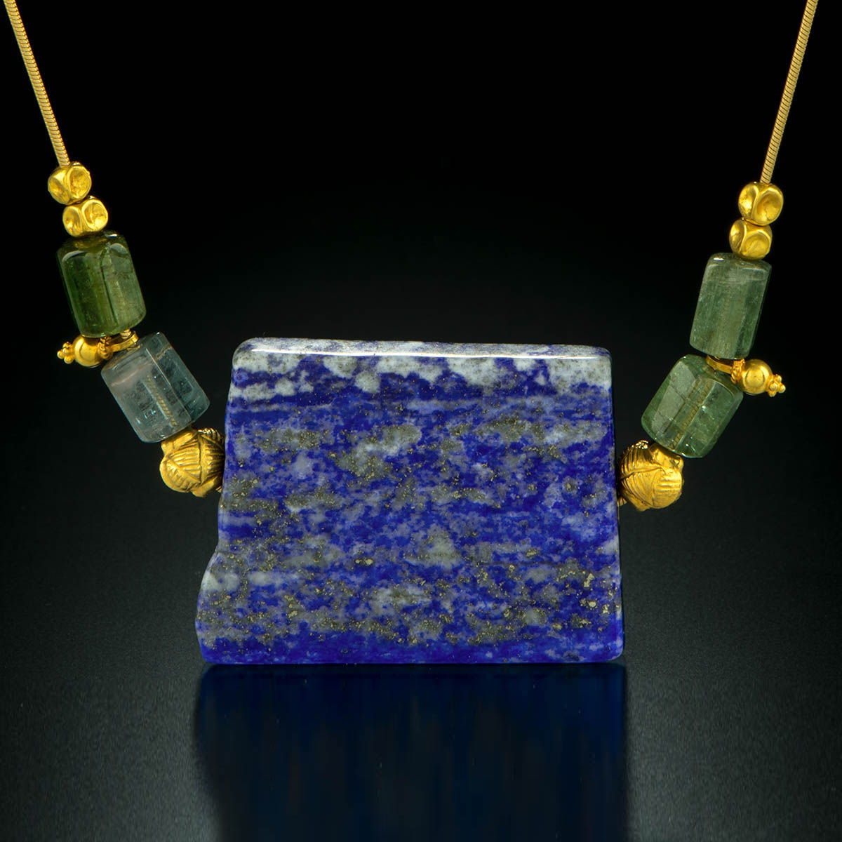 18K yellow gold necklace with Lapis, green Tourmaline and 18K gold beads.