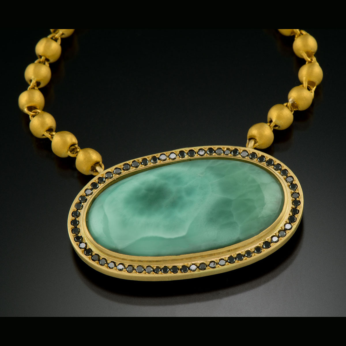 24K and 18K yellow gold necklace with Larimar