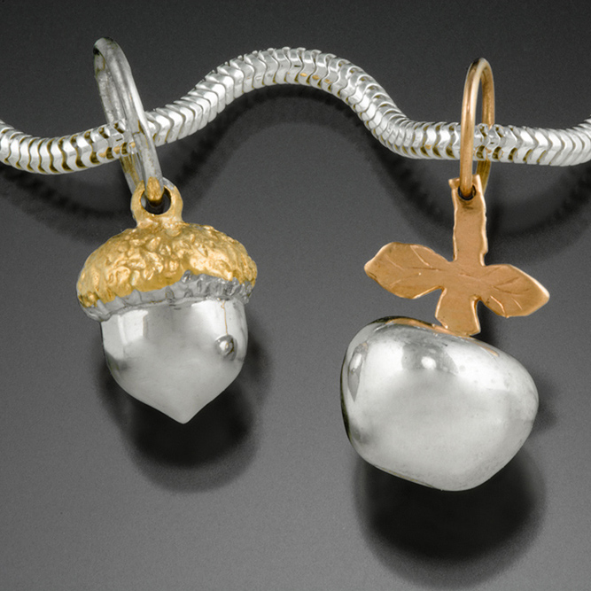 Silver and 14K rose gold Apple, yellow gold Acorn