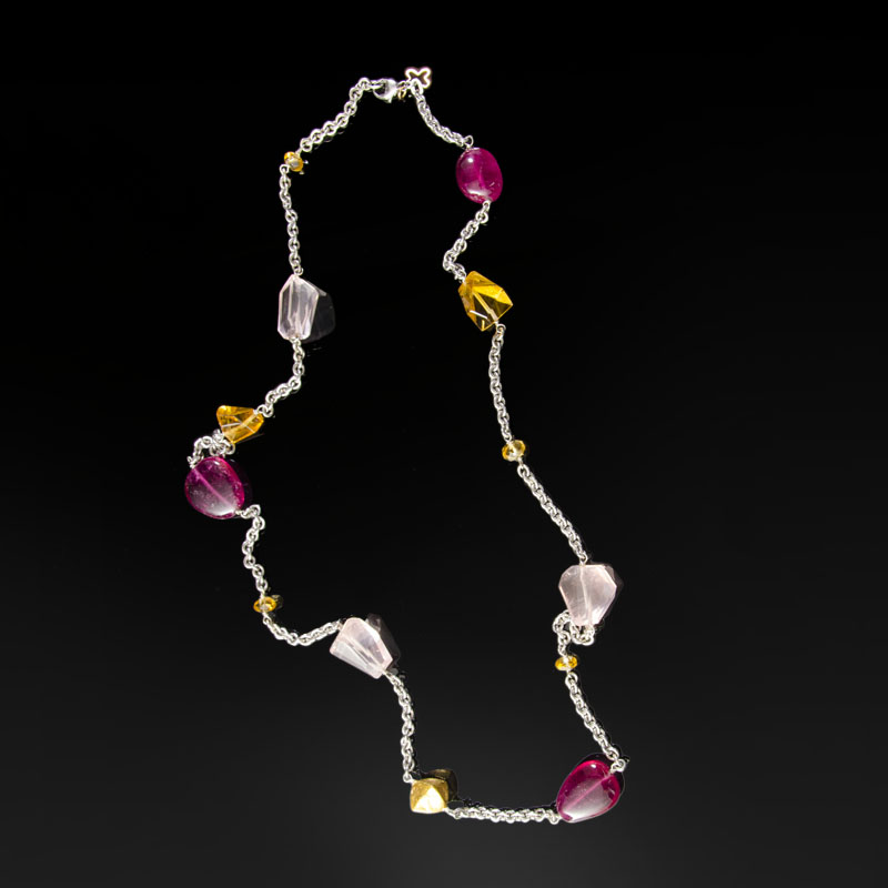 Sterling silver necklace with 18k gold and beads