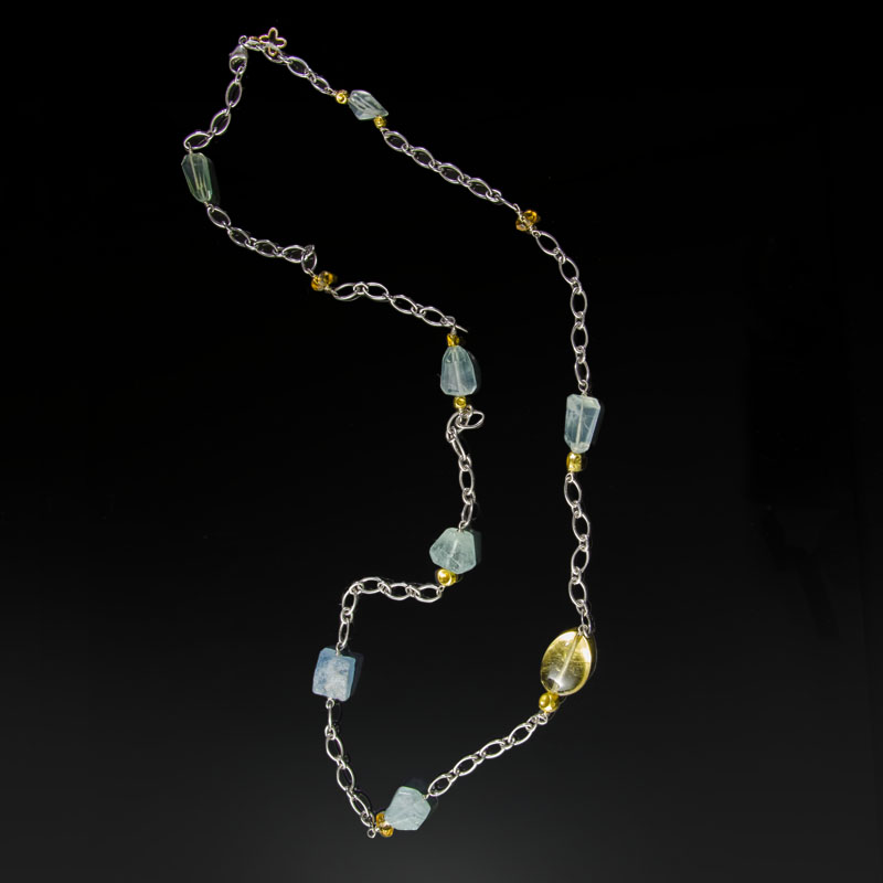 Sterling silver necklace with 18K yellow gold and gemstone beads