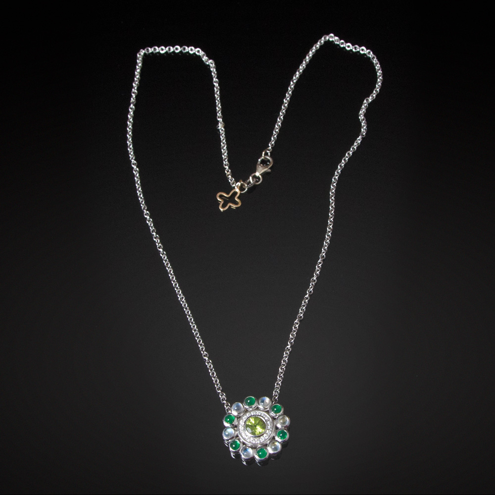 18K white gold necklace with Peridot, Diamond, Emerald and Moonstone flower