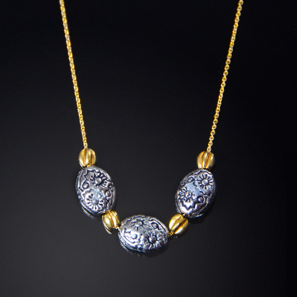 18K yellow gold necklace with silver Moroccan and gold beads