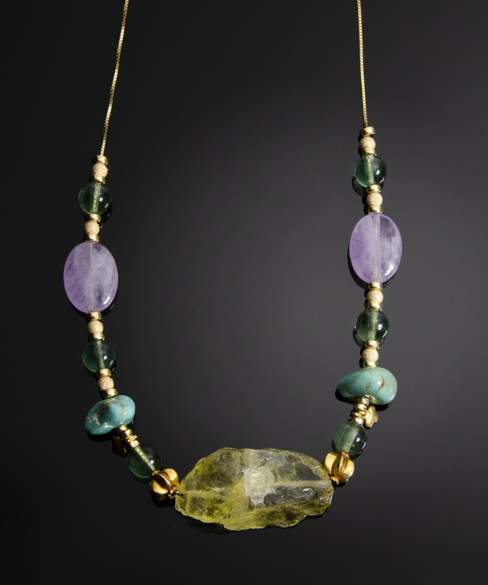 18K yellow gold necklace with Citrine rough, Florite, Turquoise, Amethyst and 18K yellow gold beads