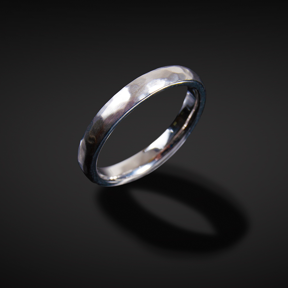 18K brushed and hammered white gold band; 3mm