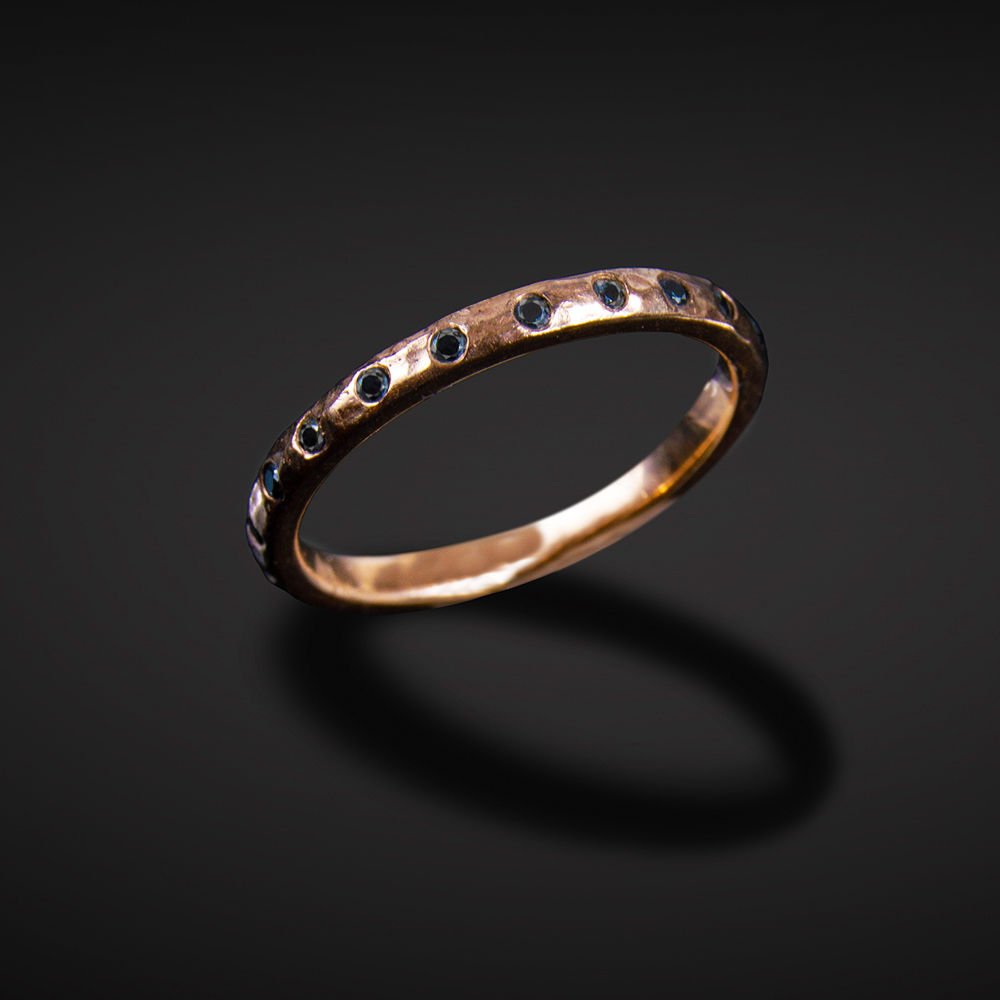 18K brushed and hammered rose gold band with black Diamonds