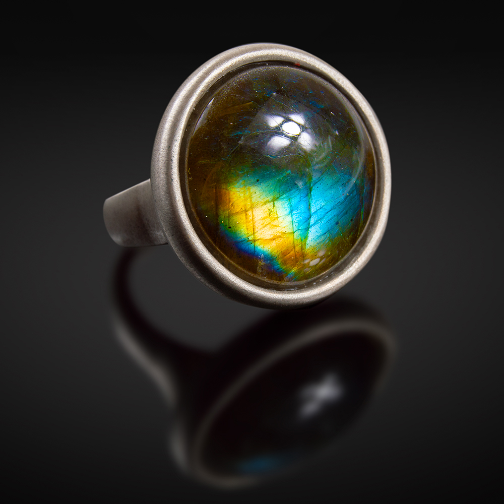 Brushed silver ring Labradorite