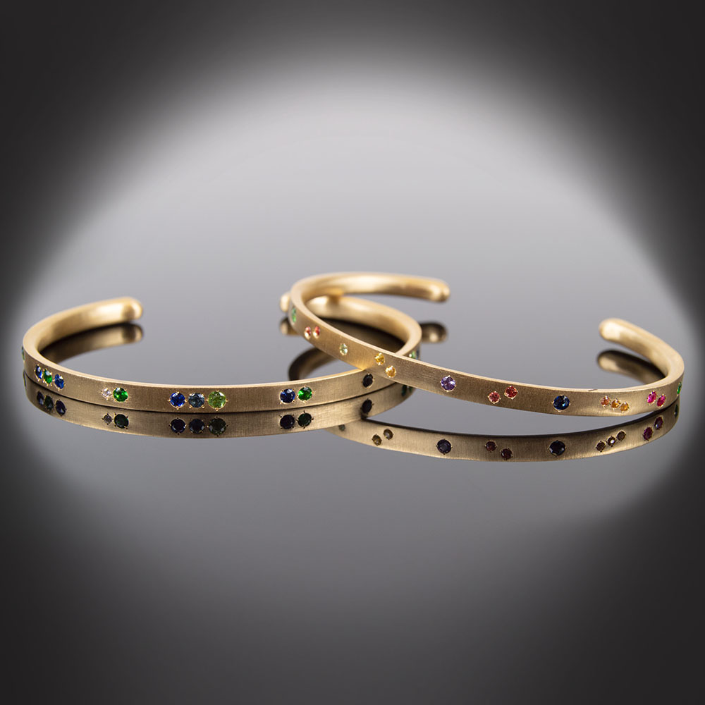 18K brushed yellow gold cuff bracelets