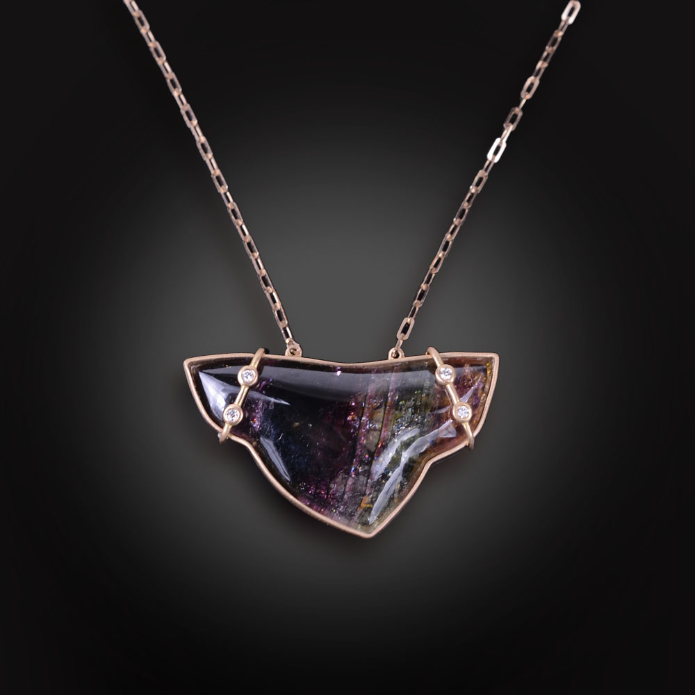 18K brushed rose gold necklace with fancy Tourmaline and Diamonds