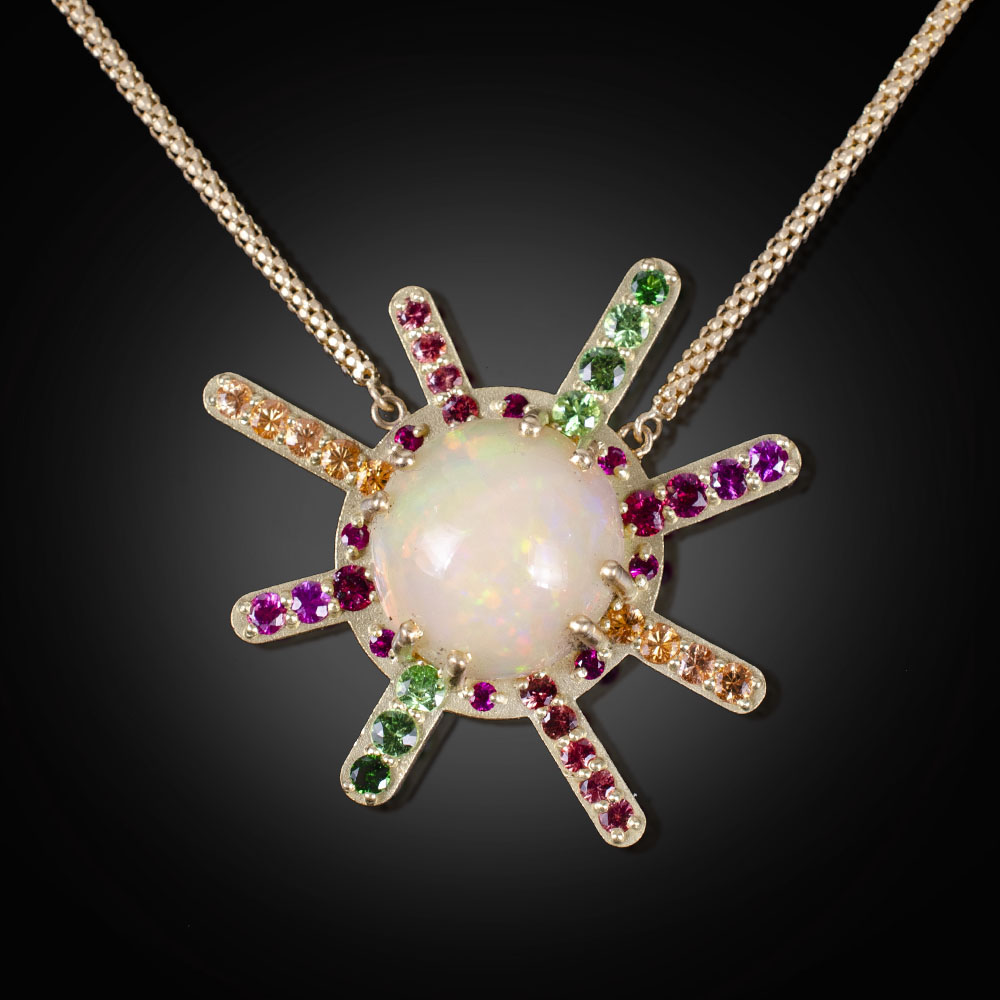 18K brushed Starburst pendant with Ethiopian Opal