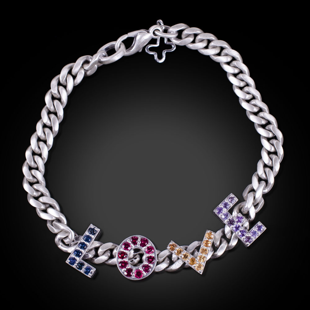 Brushed sterling silver LOVE bracelet