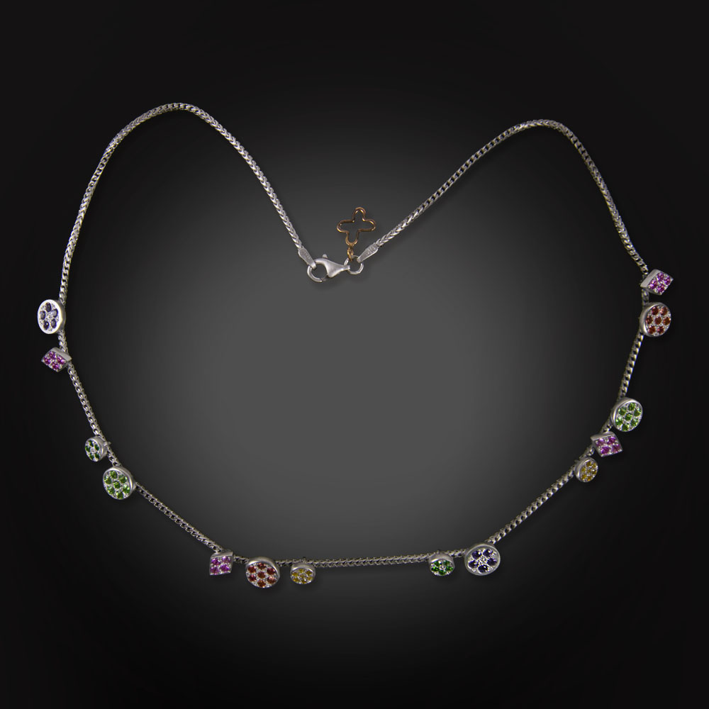 18K brushed white gold necklace with flush set gemstones