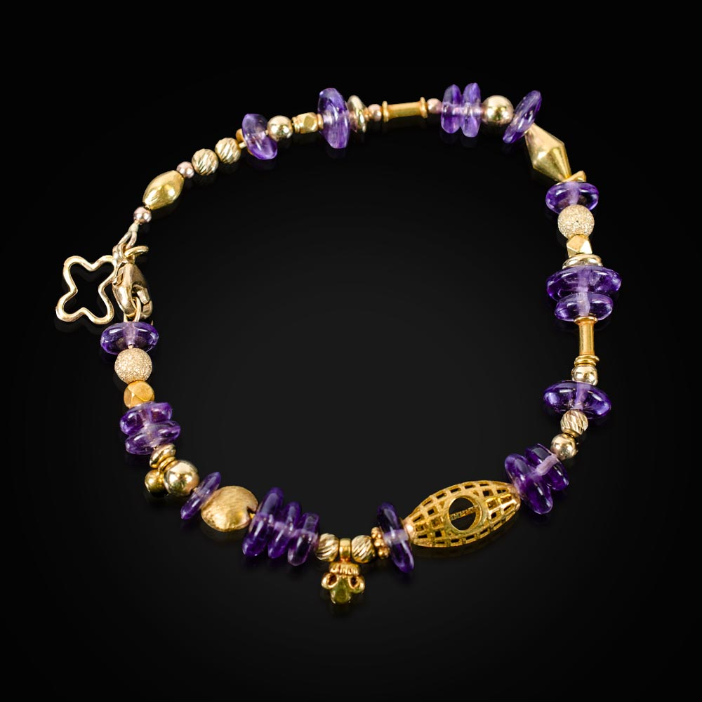 18K gold and Amethyst bead bracelet