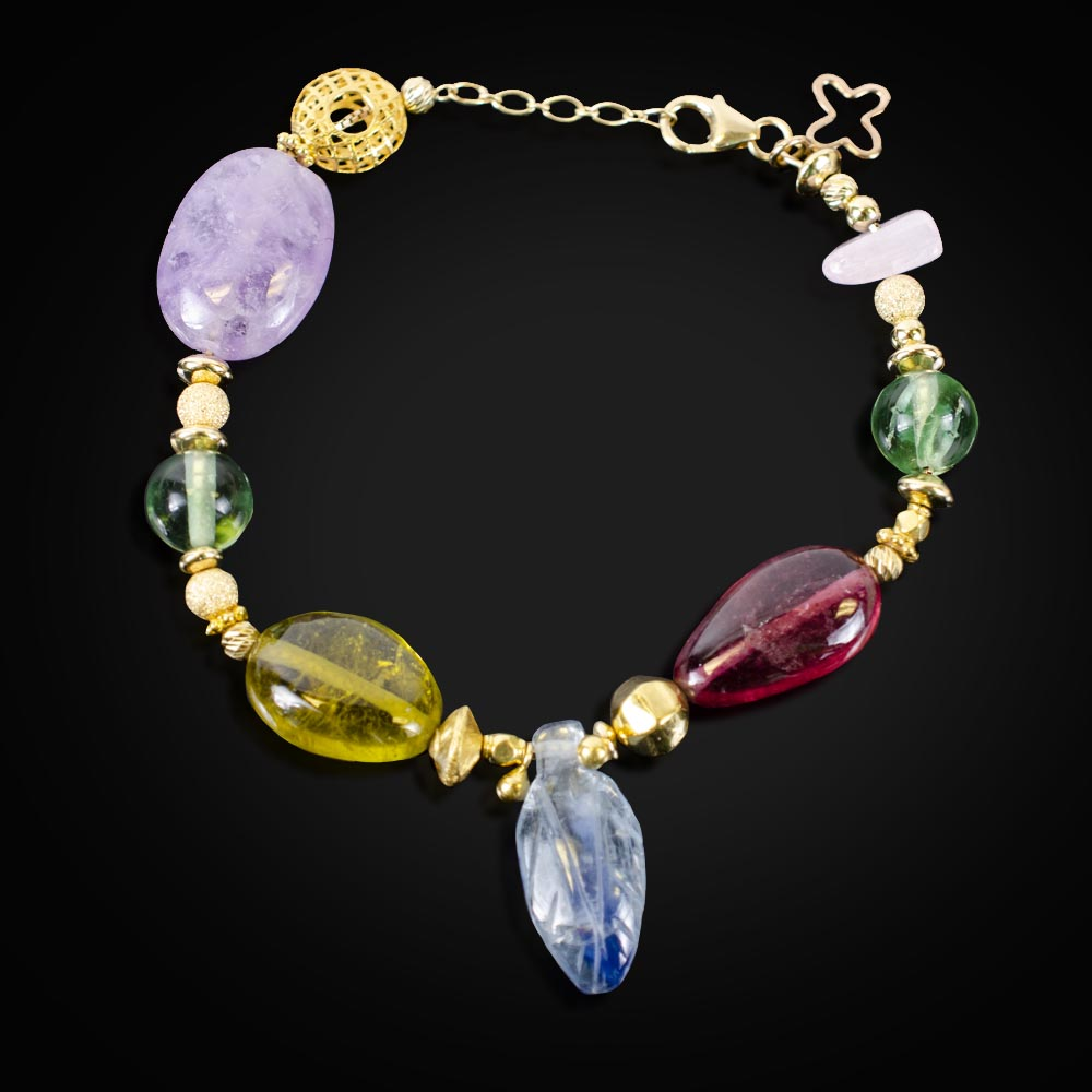 18K gold, Amethyst, Florite, Kyanite pink and yellow Tourmaline and Rose Quartz bead bracelet