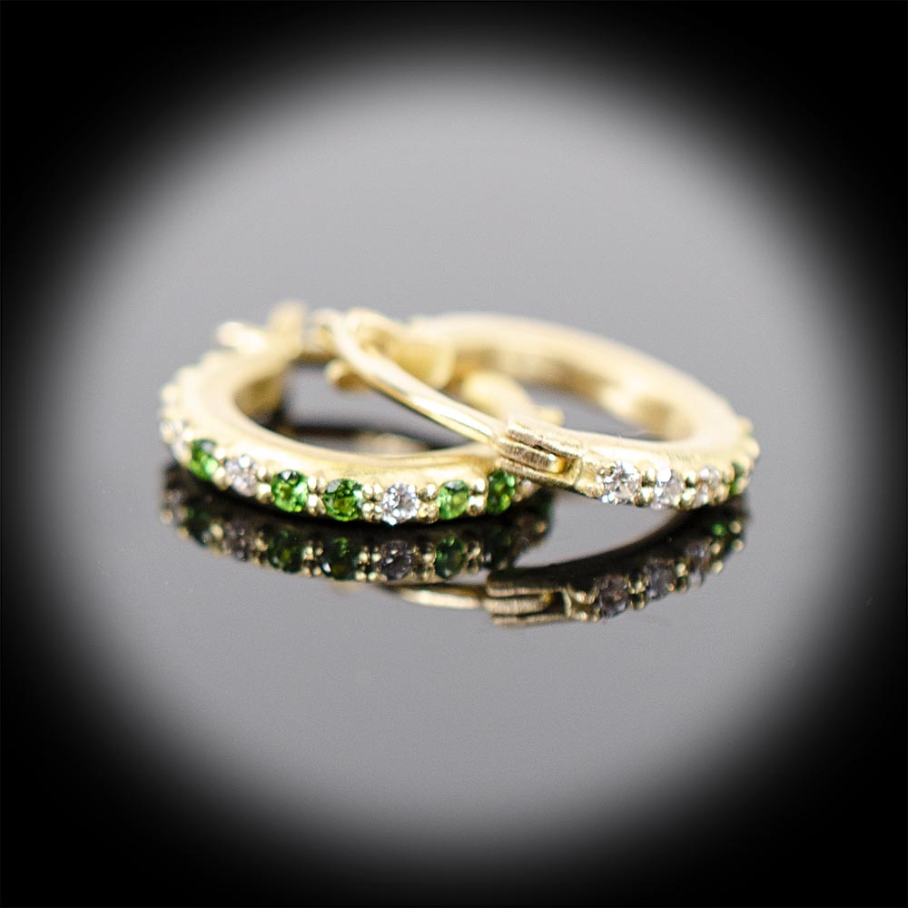 Brushed 18K tiny hoop earrings with Tsavorite Garnets and Diamonds