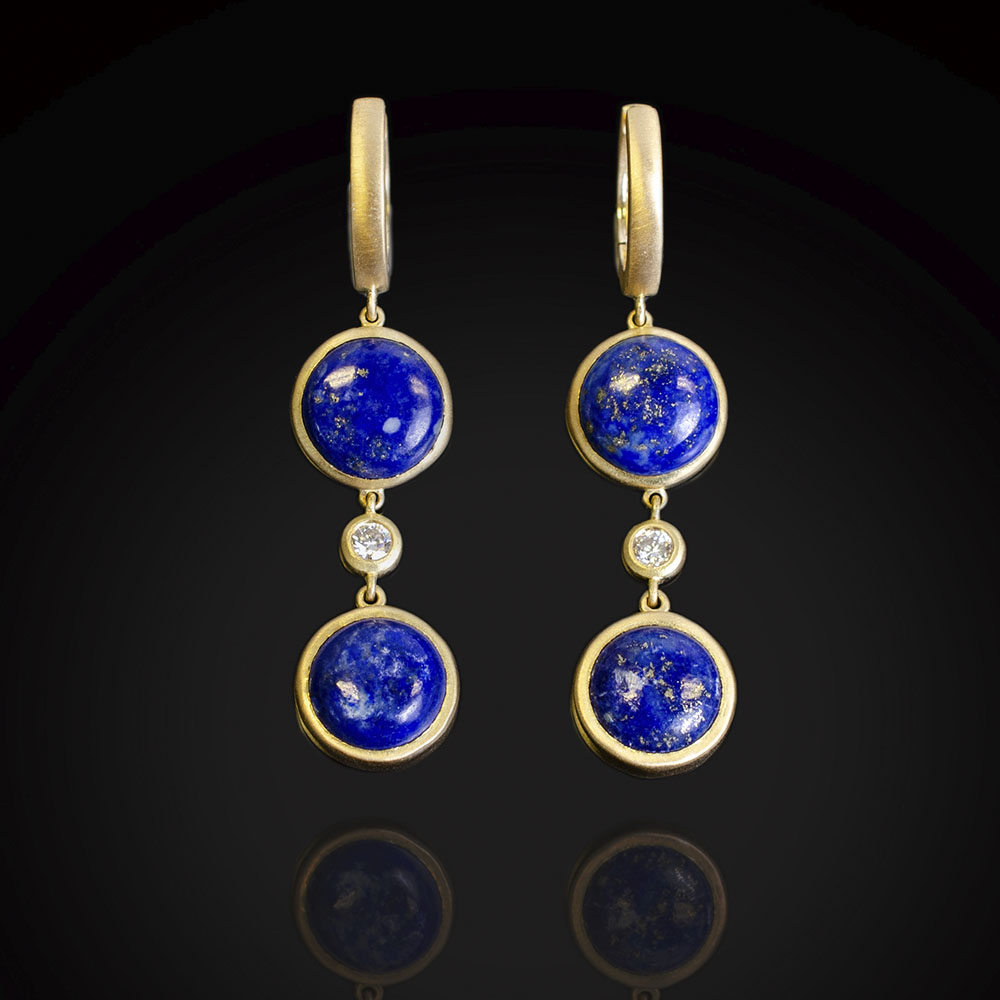 Brushed 18K gold dangle earrings with Lapis and diamonds
