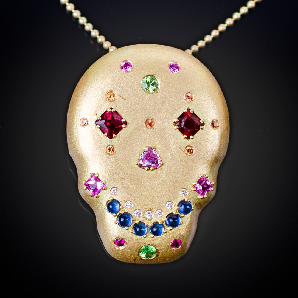 Brushed 18K Sugar Skull pendant and chain