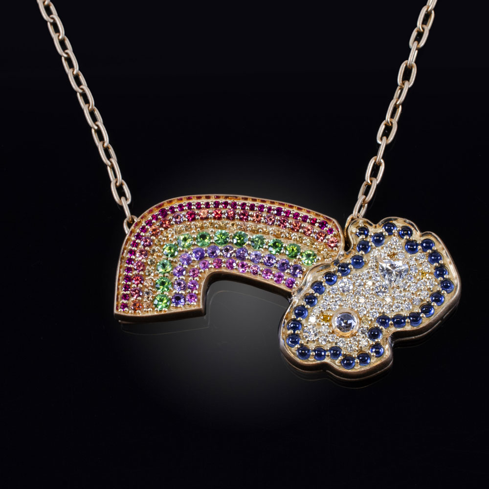 18K yellow gold rainbow necklace with colorless and yellow Diamonds, Rubies, blue, pink, purple, yellow and orange Sapphires and Tsavorite Garnets