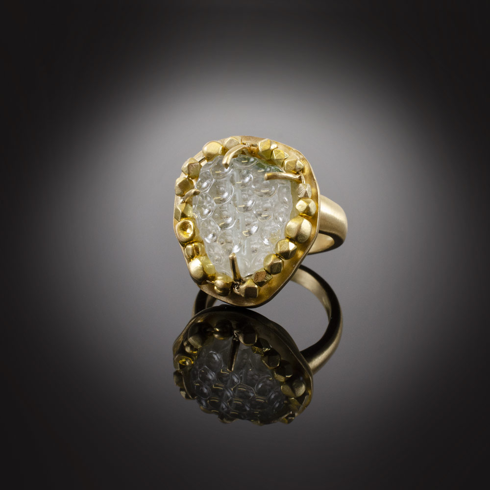 18K brushed yellow gold ring with carved very light green Tourmaline