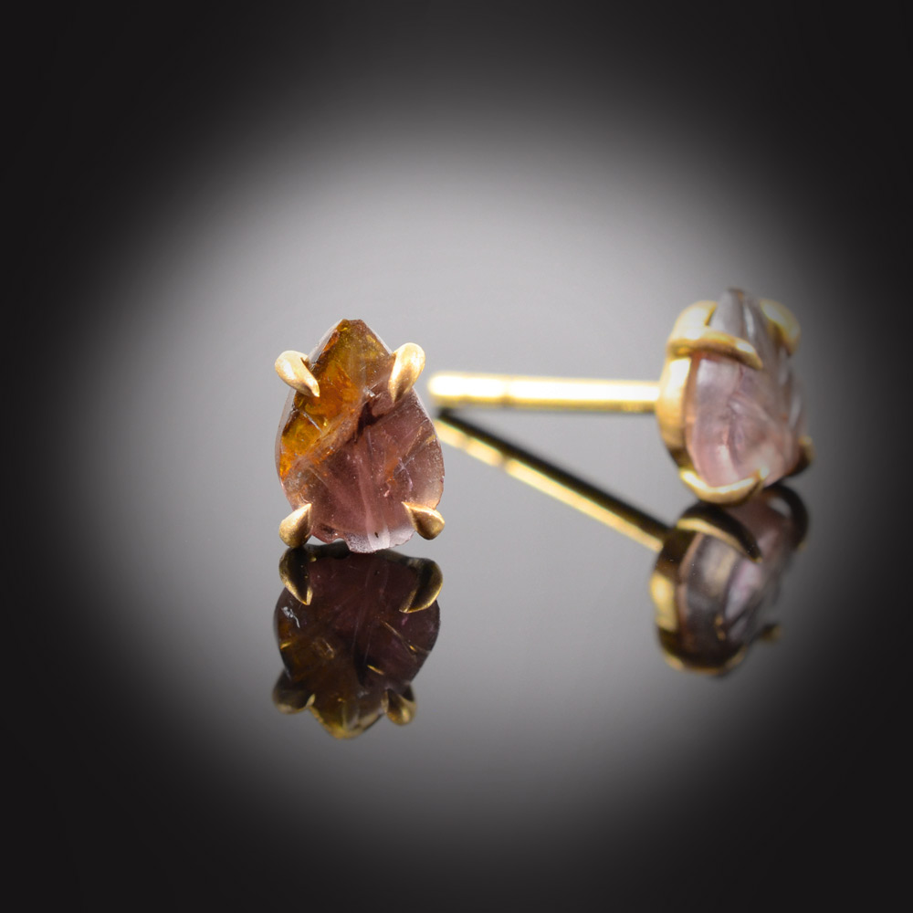 18K brushed yellow gold stud earrings with prong set carved watermelon Tourmaline leaves